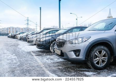 Moscow, Russia - January, 16, 2017: cars on a parking in Moscow