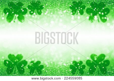 Abstract green glitter sparkle confetti background for party invite, St Patrick's Day luck, lucky Saint Paddy Irish texture, happy Pattys border, Celtic shamrock card pattern, Spring sale or backdrop