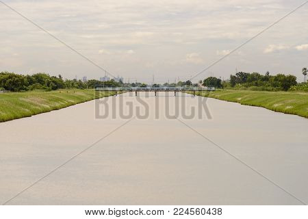 Landscape Of Waterway Canal In Thailand