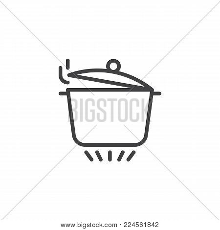 Pan with open cover on gas stove line icon, outline vector sign, linear style pictogram isolated on white. Boiling saucepan on kitchen stove symbol, logo illustration. Editable stroke