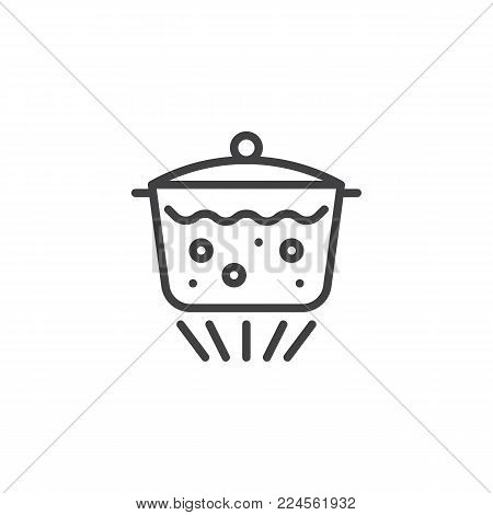 Boiling water in pan line icon, outline vector sign, linear style pictogram isolated on white. Saucepan with lid and boiling water on gas burner symbol, logo illustration. Editable stroke