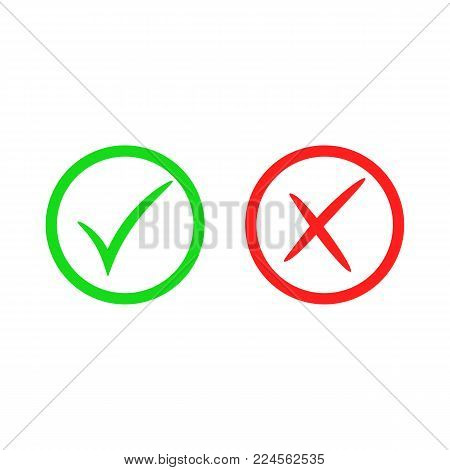 Green check mark icon. Cross mark. Vector checkmark button. Tick symbol. Illustration isolated on white background.