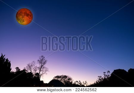 Blood moon or super moon concept or red moon on the night dark blue sky
