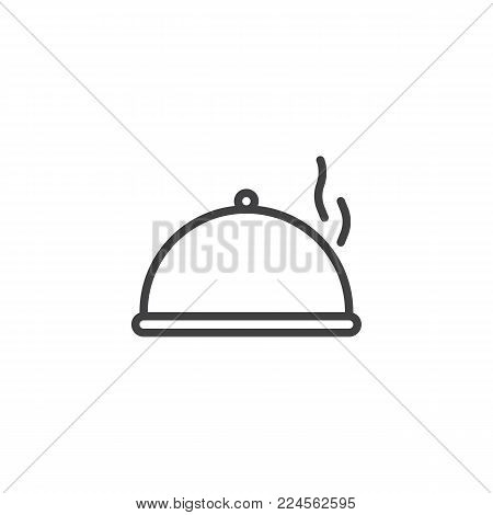 Food platter serving line icon, outline vector sign, linear style pictogram isolated on white. Tray with hot food symbol, logo illustration. Editable stroke