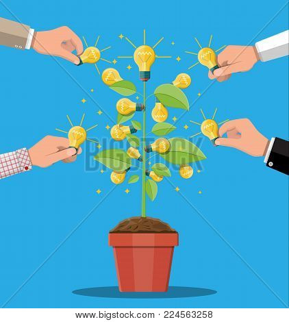Glowing light bulb hanging on tree with green leaves. Idea tree. Concept of creative idea or inspiration. Glass bulb with spiral. Vector illustration in flat style