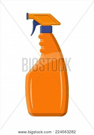 Bottle with liquid detergent. Spray bottle with cleaner. Dishwashing. Plastic bottle with dispenser for cleaning products. Vector illustration in flat style