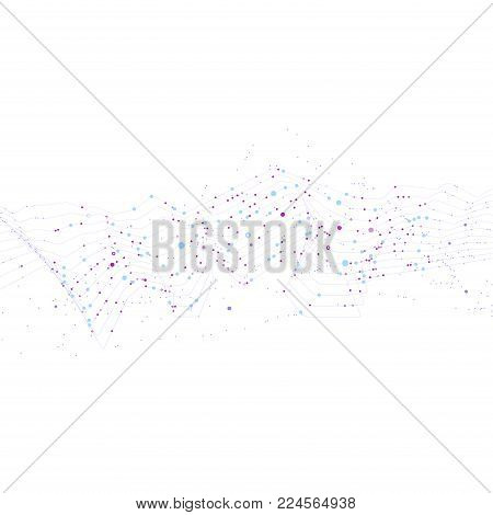 Big data stream futuristic infographic. Quantum computing, cryptography, trendy technologies infographic. Colorful particle wave. Bigdata visualization. Abstract visual data vector design