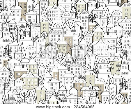 Pattern with hand drawn doodle houses. Illustration with cute town roofs and trees. Line drawing. Seamless background in black and white. Vector
