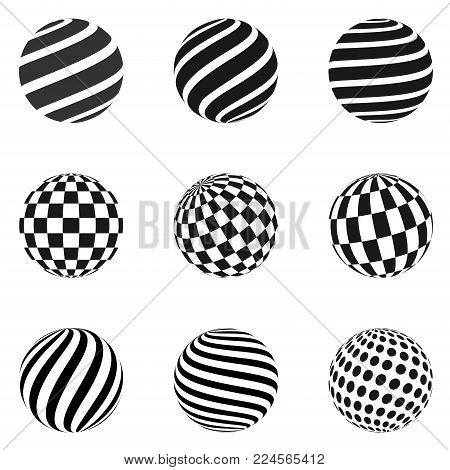 Set of minimalistic shapes. Halftone black color spheres isolated on white background. Stylish emblems. Vector spheres with stripes, dots, squares, rectangles for web designs. Simple signs collection.