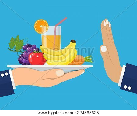 Rejecting the offered healthy food. Refuse raw food. Gesture hand NO . Tray of fresh vegetables. Veggie food, eat vitamins. Flat style vector illustration.