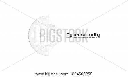 Cyber security and information protection. Protect mechanism, system privacy icon isolated on white background. Protection concept, information privacy idea, technology background. Vector illustration.