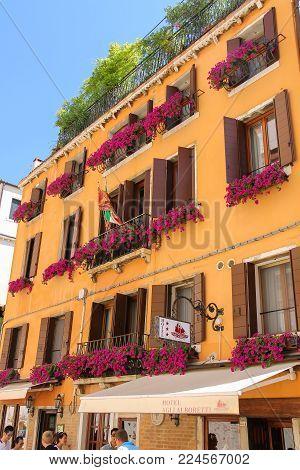 Venice, Italy - August 13, 2016: Facade of picturesque Agli Alboretti Hotel ( Rio Terra Foscarini)