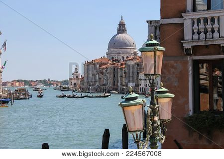Venice, Italy - August 13, 2016: View of Grand Canal from Accademia Bridge (Ponte dell'Accademia)