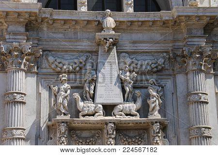 Central part of facade of Saint Moses church (Basilica di San Moise) in Venice, Italy