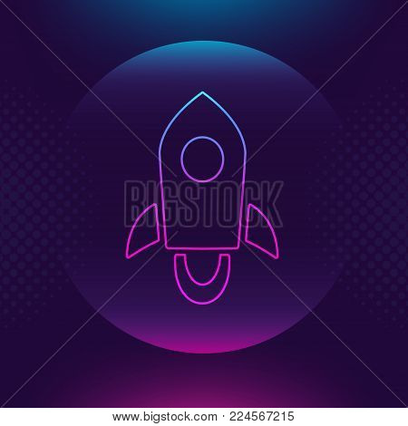 Stellar Lumen XLM vector outline icon. Cryptocurrency, e-currency, payment crypto currency, blockchain button. Bright lighting logo adaptation design web site mobile app, EPS. Ultra violet background