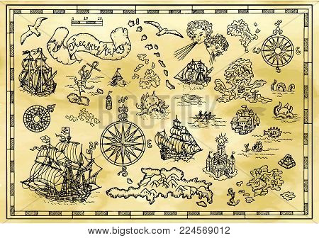 Design set with nautical decorative elements, fantasy creatures, pirate treasure map details. Pirate adventures, treasure hunt and old transportation concept. Hand drawn vector illustration, vintage background