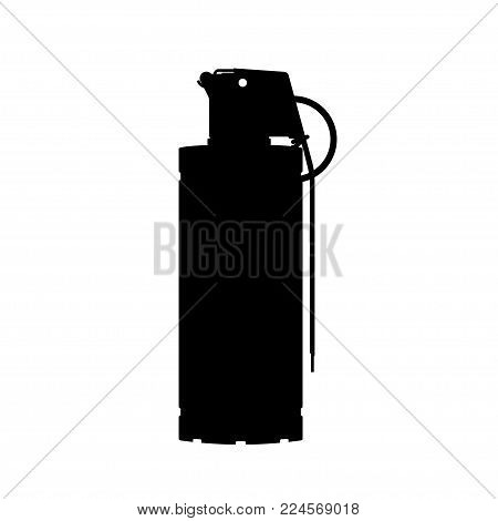 Hand flash grenade of special forces. Black silhouette of anti-terrorist ammunition. Police explosive. Weapon icon. Military object. Vector illustration