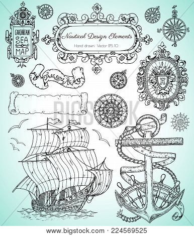 Design set with old nautical elements, sailing ship, anchor, frames and borders. Pirate adventures, treasure hunt and old transportation concept. Hand drawn vector illustration, vintage background
