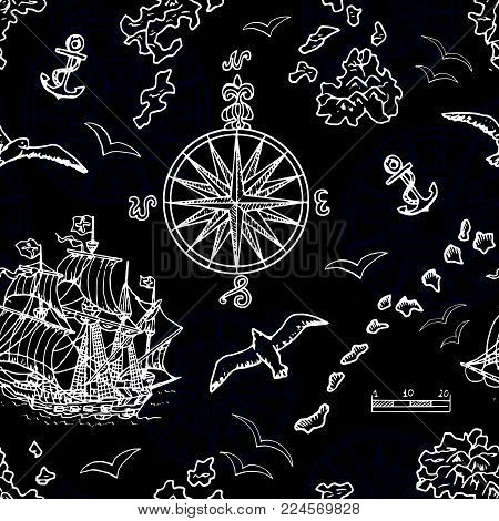 Seamless background with marine and nautical elements, old ships, compass, treasure islands on blue. Pirate adventures, treasure hunt and old transportation concept. Hand drawn vector illustration, vintage background