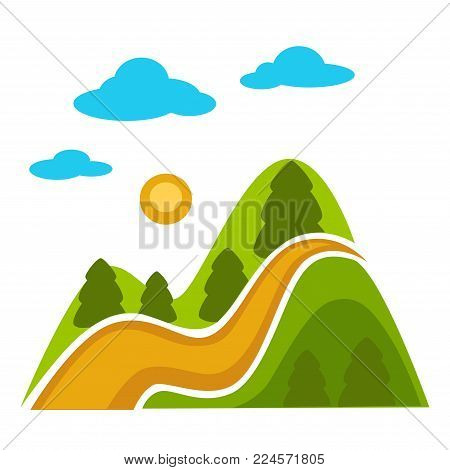 Natural landscape with high mountains, tall evergreen conifer trees, long wavy path, bright round sun in sky and blue fluffy clouds isolated cartoon flat vector illustration on white background.