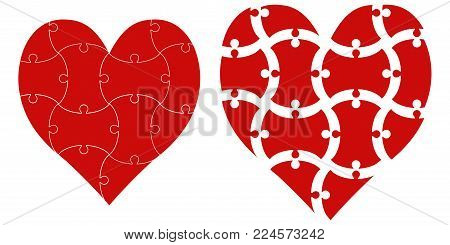 heart shape puzzle sign love, vector heart puzzle template infographics love day valentine