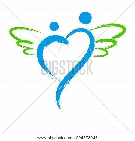 Vector angel symbol with heart shape isolated on white background
