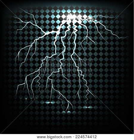 Lightning flash light thunder spark on transparent background. Vector ball lightning or electricity blast storm or thunderbolt in sky.