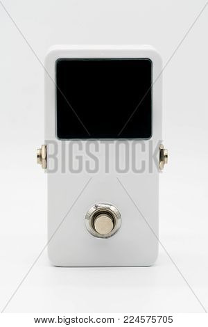 White guitar pedal effect, Strompbox, with big LED screen display isolated on white background