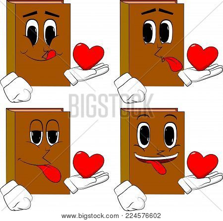 Books holding red heart in his hand. Cartoon book collection with happy faces. Expressions vector set.