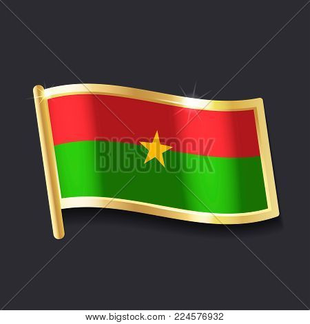 flag of  Burkina Faso in the form of badge, flat image