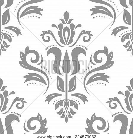Orient vector classic silver pattern. Seamless abstract background with vintage elements. Orient background