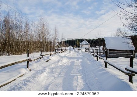 The Village Is Snow-covered In Winter