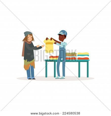 Young volunteer provide clothing to homeless woman. Afro-american kid in blue working overall, t-shirt and cap. Helping to needy. Cartoon people character. Flat vector illustration isolated on white.
