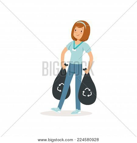 Young girl carrying two black bags with rubbish. Social activist. Waste recycling. Cartoon character of volunteer. Teen in blue t-shirt and jeans. Colorful flat vector illustration isolated on white.
