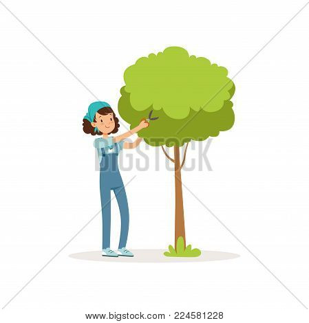 Girl cutting green tree using garden scissors. Volunteer at work. Cartoon teen character in overall, t-shirt and bandana. Gardening concept. Social activist. Flat vector illustration isolated on white