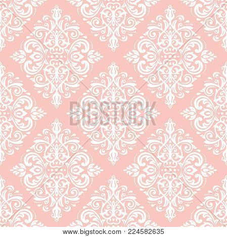 Classic seamless vector white pattern. Damask orient ornament. Classic vintage background