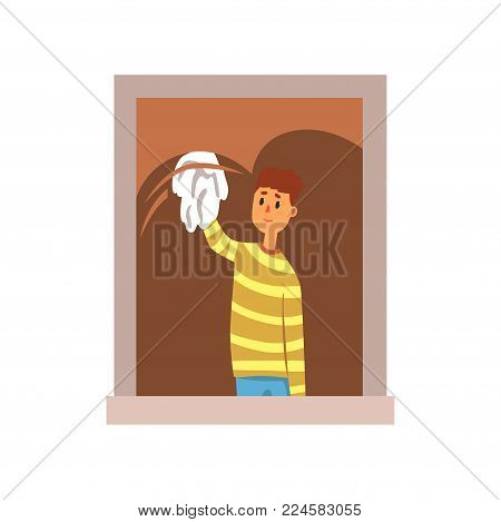 Smiling teenager boy washing window with rag. Cartoon kid character in striped sweater and blue pants. Housework concept. Colorful vector illustration in flat style isolated on white background.