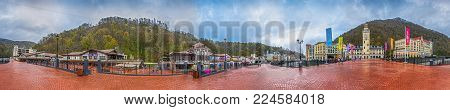 KRASNAYA POLYANA, SOCHI, RUSSIA - APRIL 20, 2015: 360 degrees Panorama of the resort of Rosa Khutor.