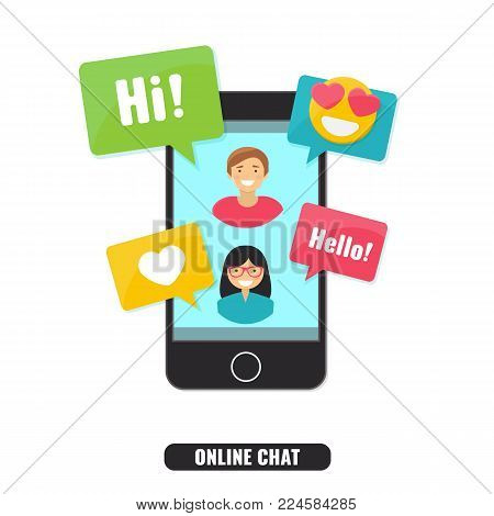 Concept of online chat, live video chat, dating online and Social Network. Smartphone with notifications, emoji, messages. Vector illustration.
