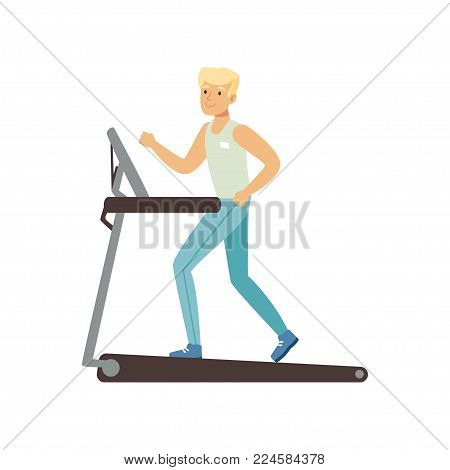 Young blond man running on treadmill. Astronaut preparing for space flight. Physical activity. Training machine. Cartoon male character in sportswear. Flat vector illustration isolated on white.