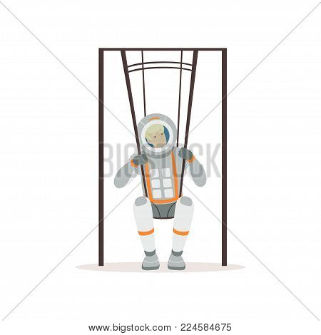Smiling man in spacesuit training on special swings. Young astronaut preparing for space flight. Testing of physical activity. Colorful vector illustration in flat style isolated on white background.