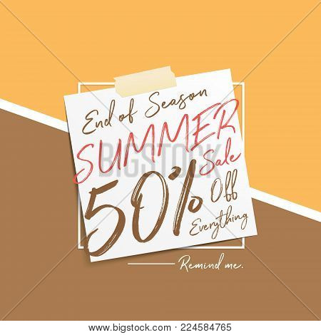 Summer Sale V6 20 Percent Heading Design Note Pad On Pastel Background For Banner Or Poster. Sale An