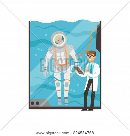Doctor conducts medical examination of astronaut. Cartoon man character training in glass water tank for spacewalk. Young pilot underwater in spacesuit. Modern technology. Isolated flat vector design.