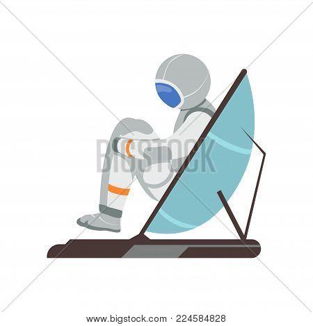 Man training vestibular apparatus on simulator machine. Astronaut preparing for space flight. Cartoon cosmonaut character in spacesuit. Colorful flat vector illustration isolated on white background.