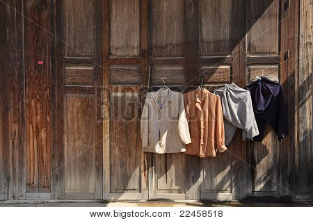 Washing Clothes Hang Door Wood