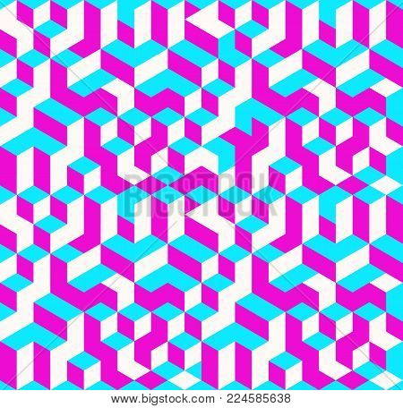 Vector illustration of isometric cubes seamless pattern
