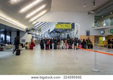 Tallinn, Estonia - January 2018:  Tallinn Airport departure area architecture. Tallinn Airport is the main airport in Estonia.