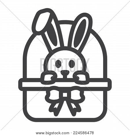 Easter bunny in basket line icon, easter and holiday, rabbit sign vector graphics, a linear pattern on a white background, eps 10.