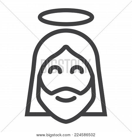 Jesus line icon, easter and holiday, christ sign vector graphics, a linear pattern on a white background, eps 10.