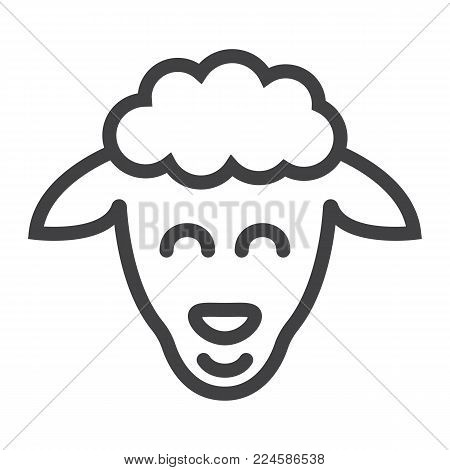 Sheep line icon, easter and holiday, lamb sign vector graphics, a linear pattern on a white background, eps 10.